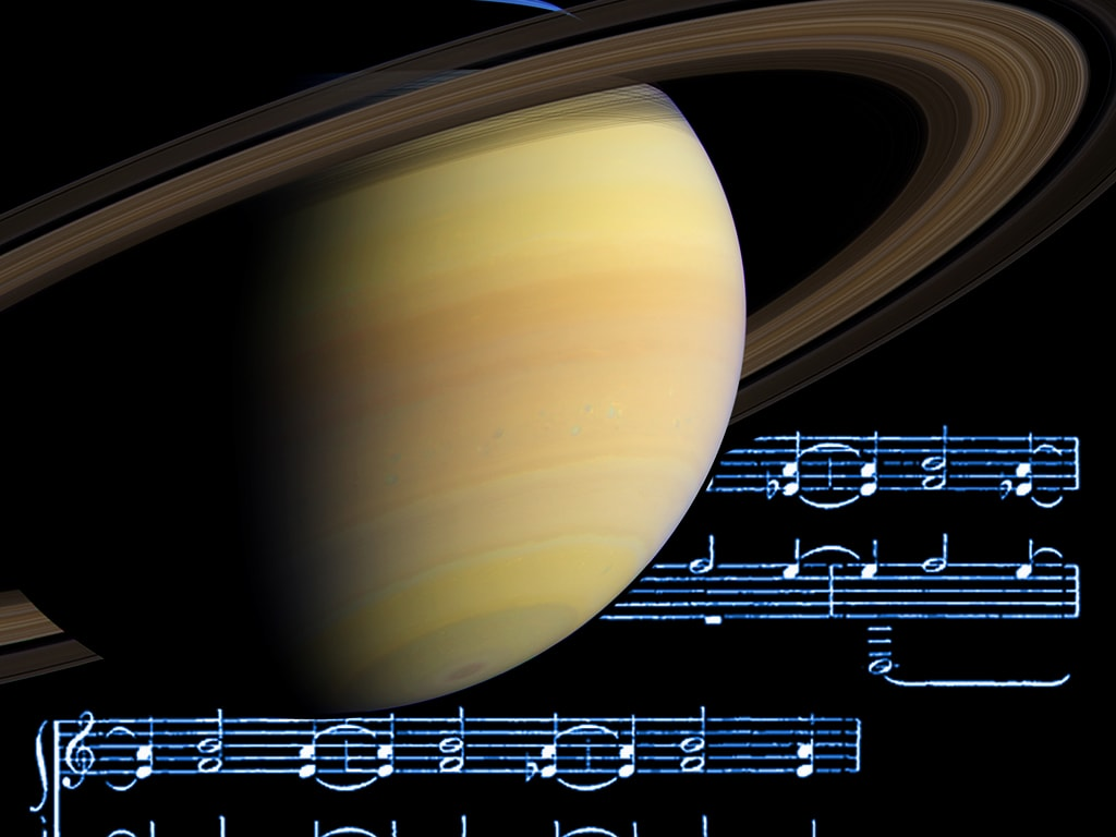 Saturn with musical notes