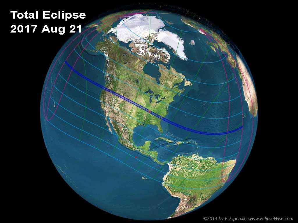 Path of eclipse totality map