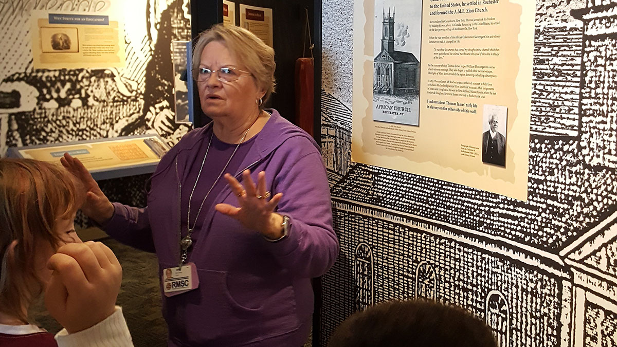 Docent in the museum
